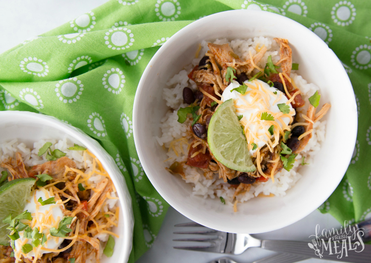 Crockpot Tex Mex Shredded Pork Bowls - Served in a small white bowls - Family Fresh Meals