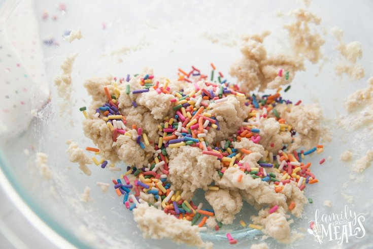 Edible Sugar Cookie Dough - sprinkles placed on top of cookie dough