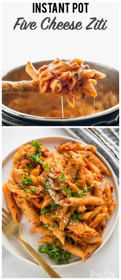 Instant Pot Three Cheese Ziti #familyfreshmeals #ziti #instantpot #instantpotrecipe #pressurecooker #pasta #familyfavorites #easyrecipe #familyrecipe #threecheeseziti via @familyfresh
