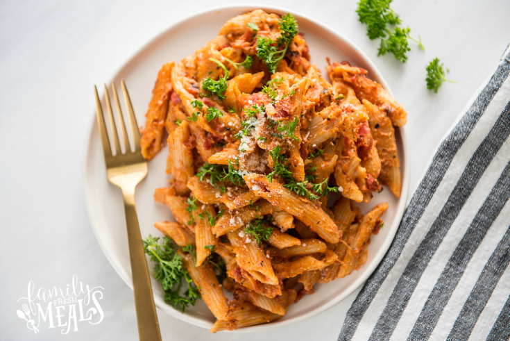 Instant Pot Three Cheese Ziti - served on a white plate