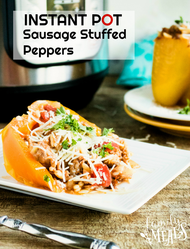 Instant Pot Orzo Sausage Stuffed Peppers