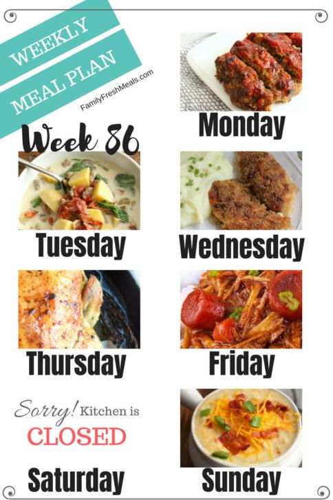 Easy Weekly Meal Plan Week 86