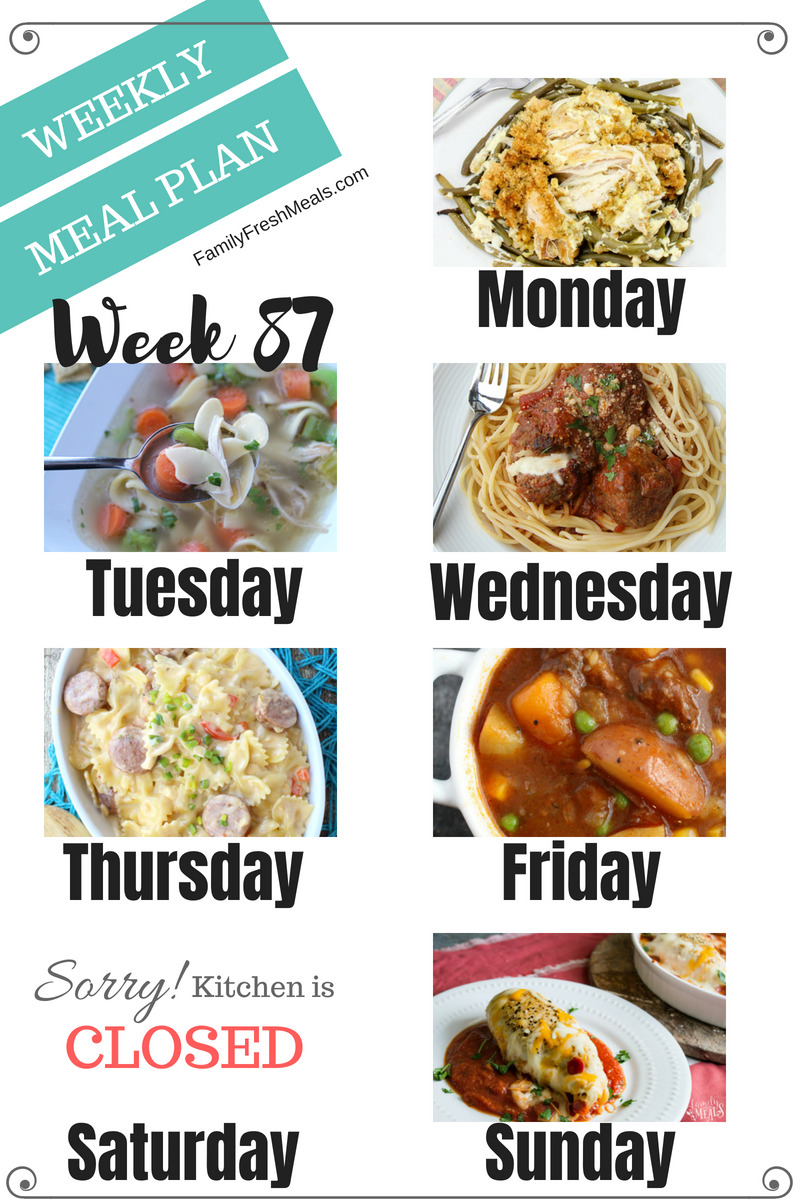 Easy Weekly Meal Plan Week 87