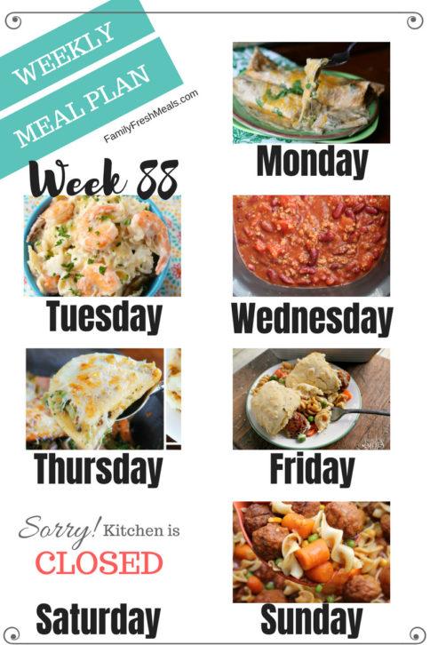 Easy Weekly Meal Plan Week 88