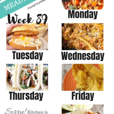 Easy Weekly Meal Plan Week 89