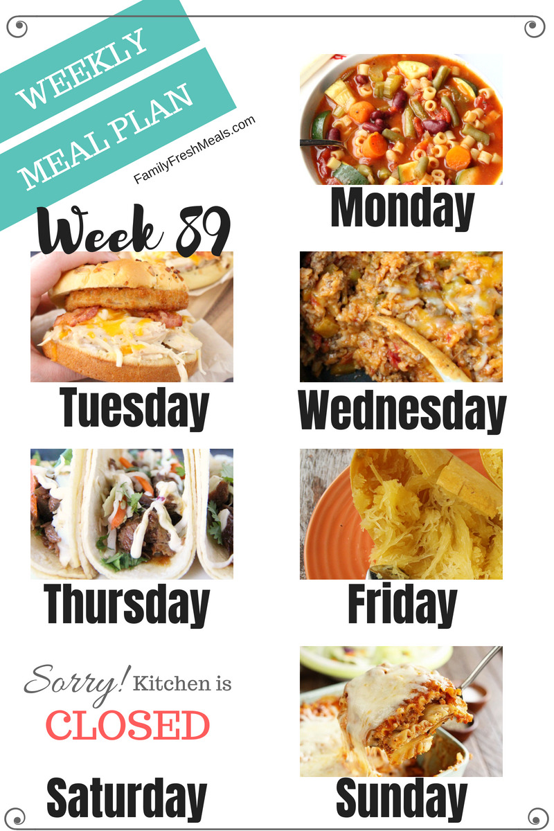 Easy Weekly Meal Plan Week 89