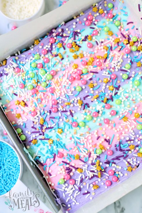 Unicorn Cereal Bars - Cereal bars topped with pastel frosing and food sprinkles