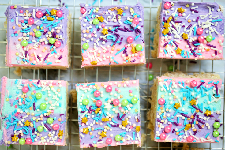 UnicornCerealBars - Cut into squares and drying on a drying rack