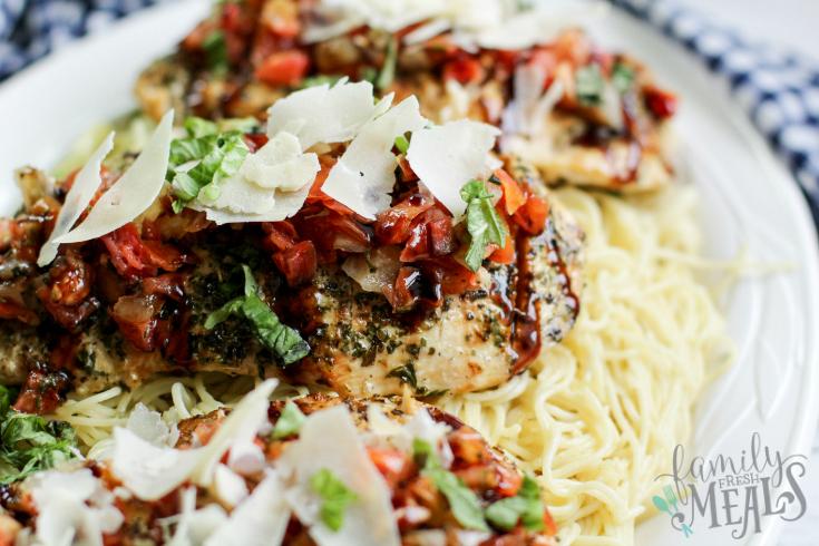 Bruschetta Chicken Recipe - Chicken served over a bed of pasta