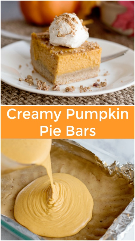 These Creamy Pumpkin Pie Bars are like a much easier version of pumpkin pie, because they use a shortbread-like bar crust instead of a pastry crust. via @familyfresh
