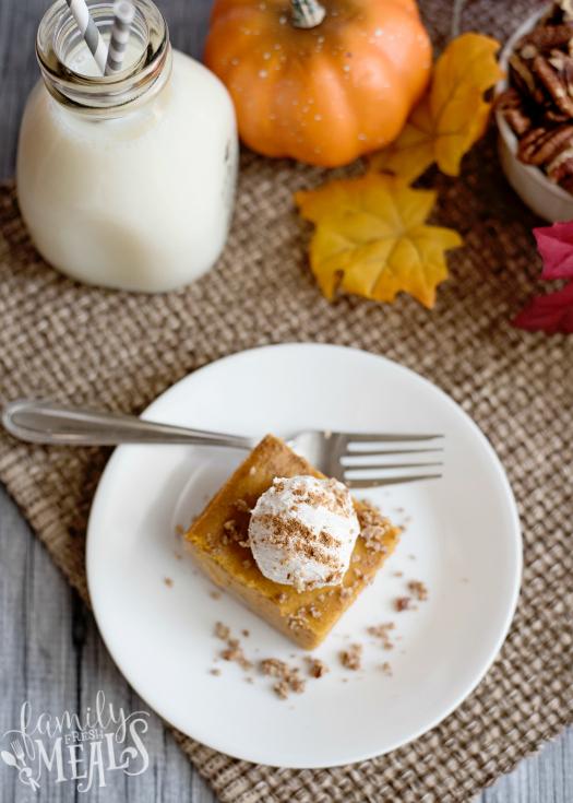 Creamy Pumpkin Pie Bars - Slice served on a white plate