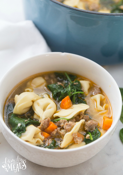 Italian Tortellini Soup - Served in a white bowl - Family Fresh Meals