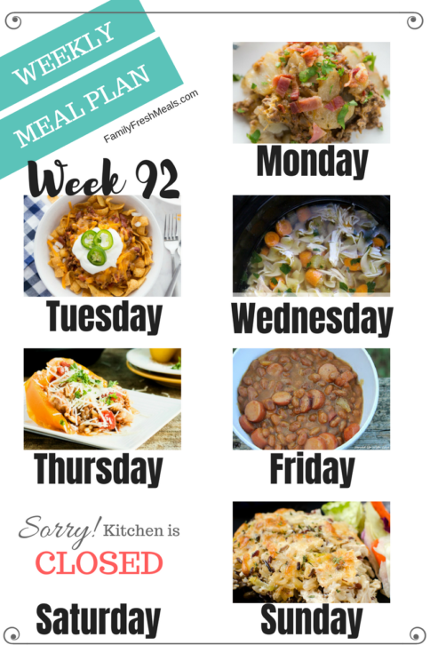 Easy Weekly Meal Plan Week 92