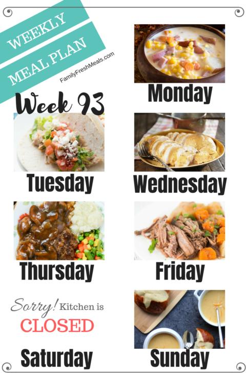 Easy Weekly Meal Plan Week 93