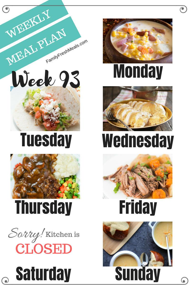 Easy Weekly Meal Plan Week 93