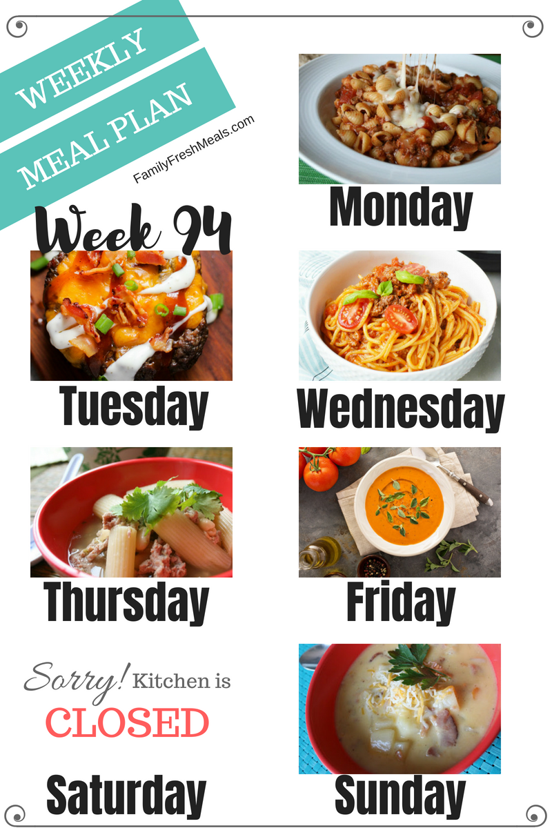 Easy Weekly Meal Plan Week 94