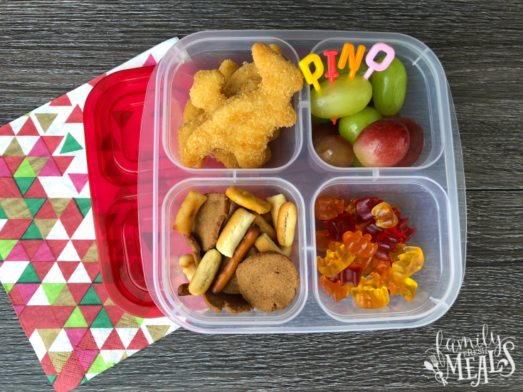 Yummy Dino Buddies - Leftover chicken nuggets packed for lunch - Family Fresh Meals
