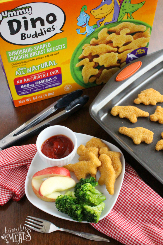 Yummy Dino Buddies - Served on a white plate with apples and broccoli - Family Fresh Meals