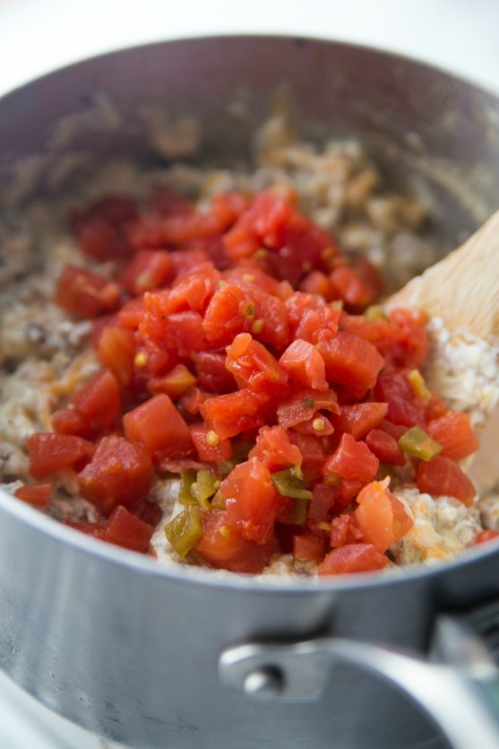 Cheesy Sausage Dip - Stir in rotel diced tomatoes