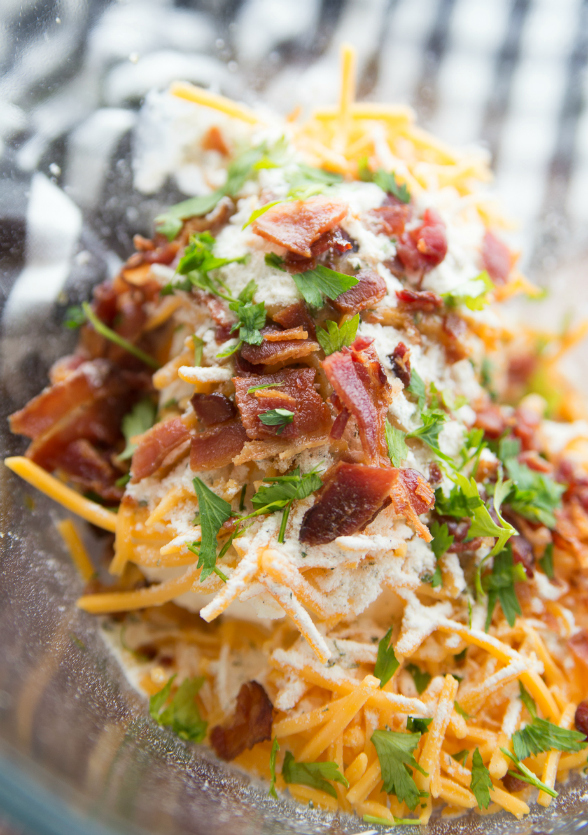 Savory Bacon Cheese Ball - cream cheese, shredded cheese, bacon and seasoning in a bowl