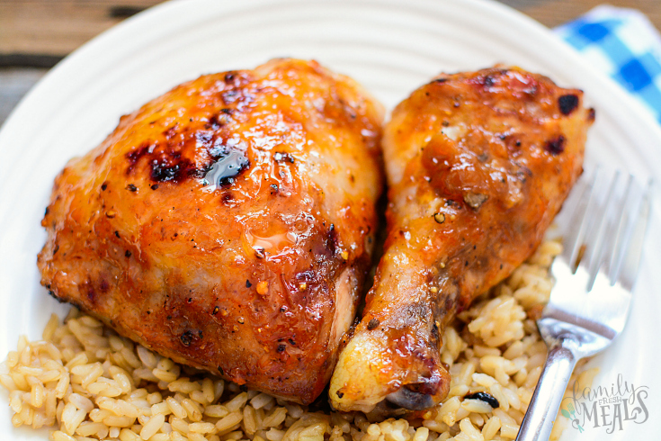 Baked Apricot Chicken - Healthy baked chicken recipe served on a plate with rice