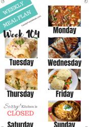 Easy Weekly Meal Plan Week 104