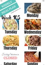 Easy Weekly Meal Plan Week 105