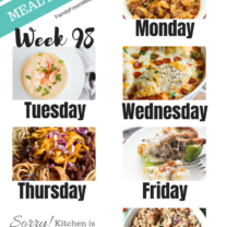 Easy Weekly Meal Plan Week 98