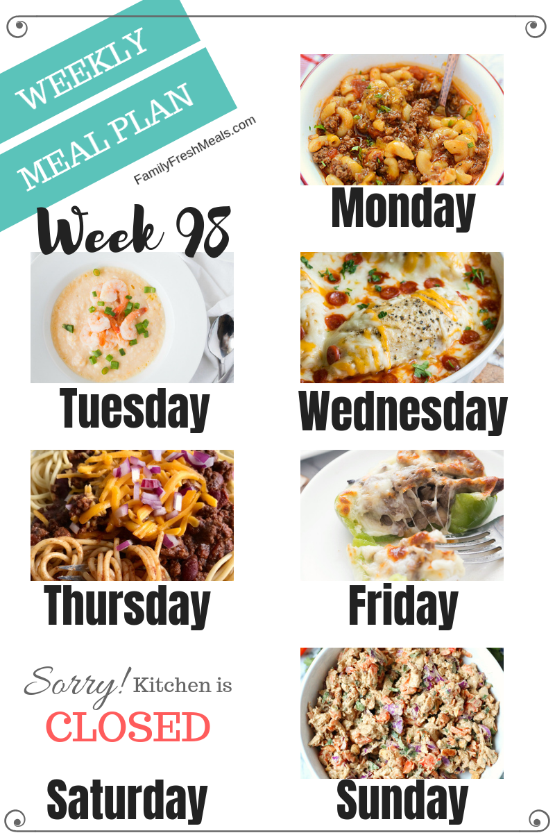 Easy Weekly Meal Plan Week 98 - Family Fresh Meals