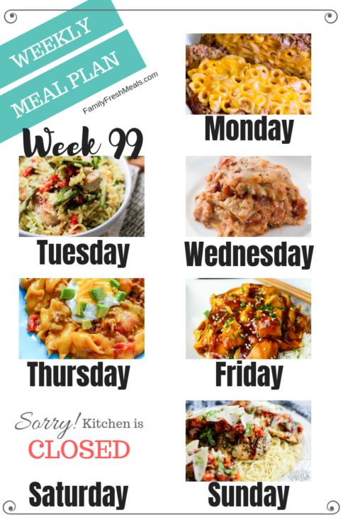Easy Weekly Meal Plan Week 99 - Family Fresh Meals