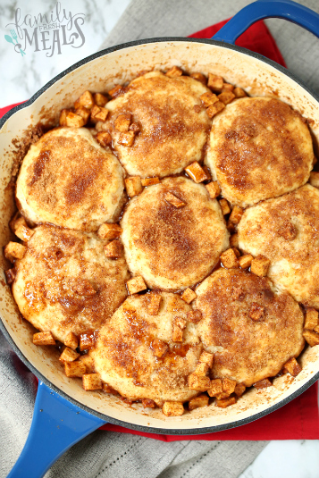 Skillet Apple Pie Dessert Biscuits - Cooked dessert biscuits in a pan