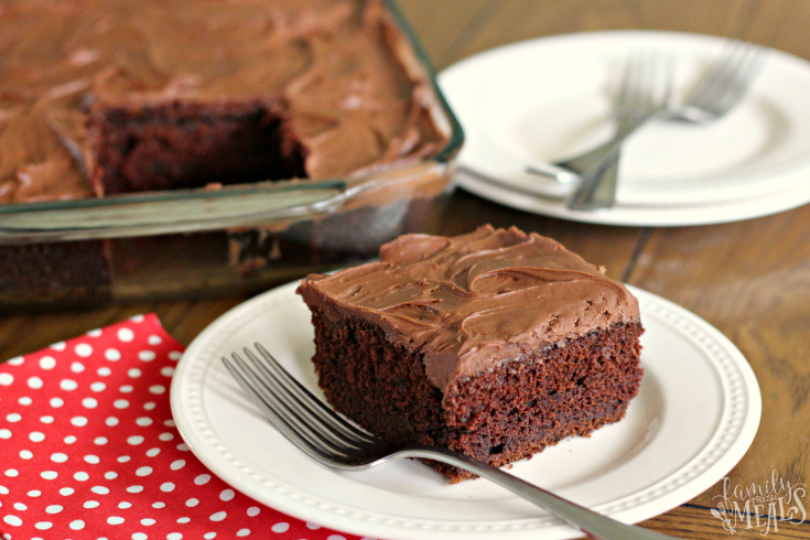 Sour Cream Chocolate Cake - slice of cake cut out of baking dish and served on a plate