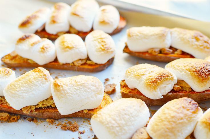 Sweet Potato Casserole Toast - baked sweet potato slices topped with toasted marshmallows