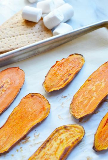 Sweet Potato Casserole Toast - baked sweet potato slices