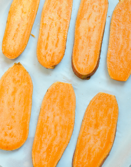 Sweet Potato Toast Casserole - sliced sweet potato on a baking sheet