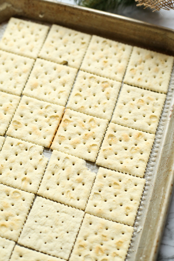 White Chocolate Cracker Toffee - crackers lined on a baking sheet