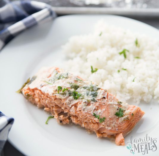 Honey Baked Salmon Recipe - Plated with white rice on a white plate