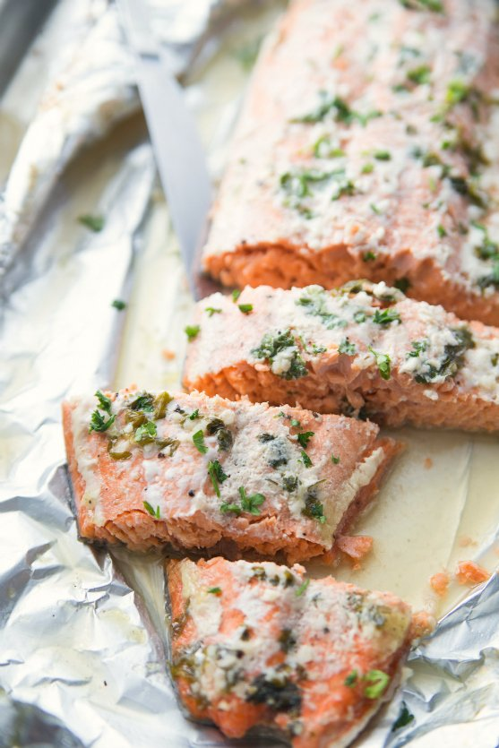 Honey Baked Salmon - cooked fillet cut into slices