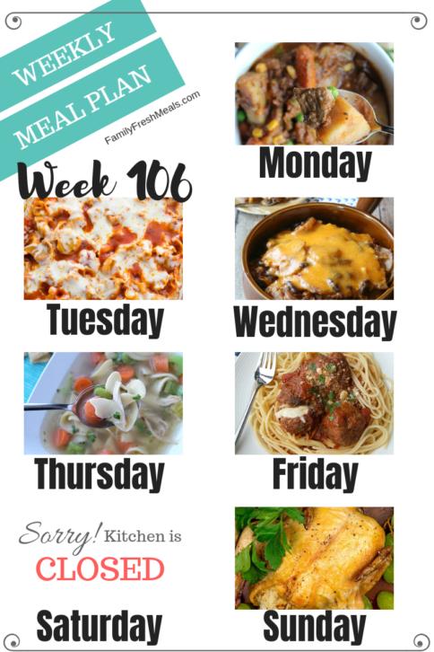 Easy Weekly Meal Plan Week 106 - Family Fresh Meals