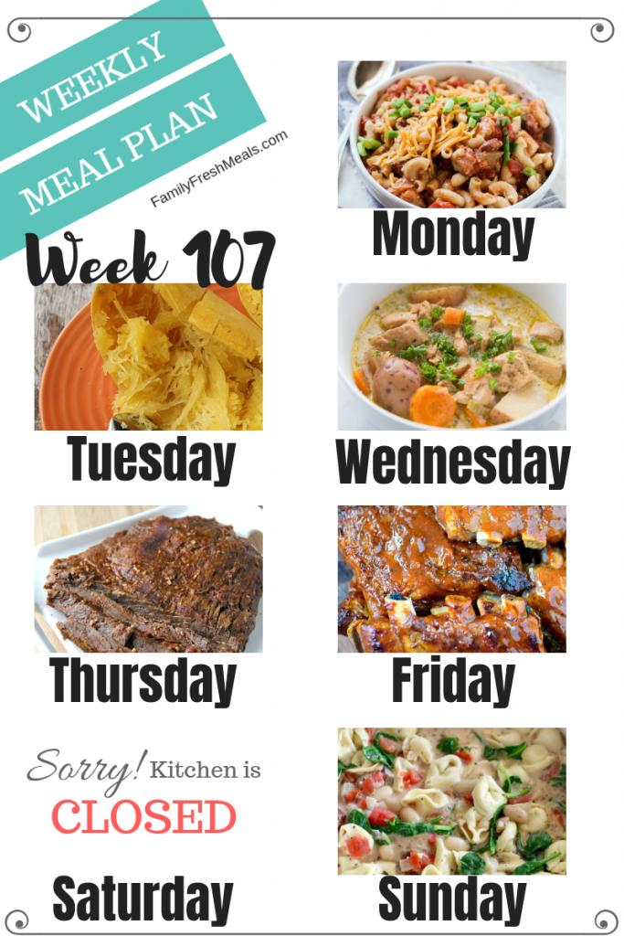 Easy Weekly Meal Plan Week 107 - Family Fresh Meals
