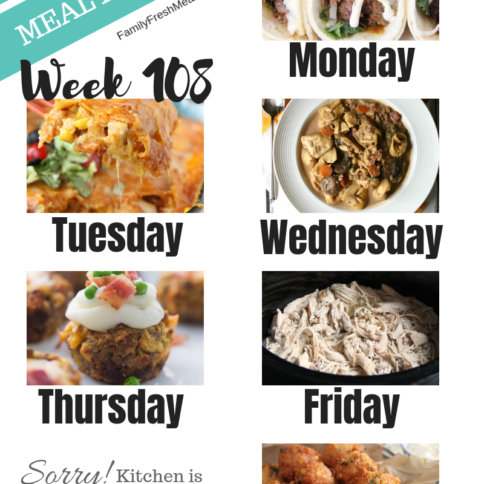 Easy Weekly Meal Plan Week 108 - Family Fresh Meals