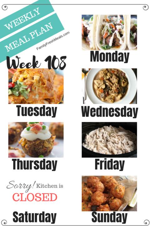 Easy Weekly Meal Plan Week 108 - Family Fresh Meals