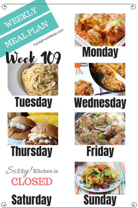 Easy Weekly Meal Plan Week 109 - Family Fresh Meals