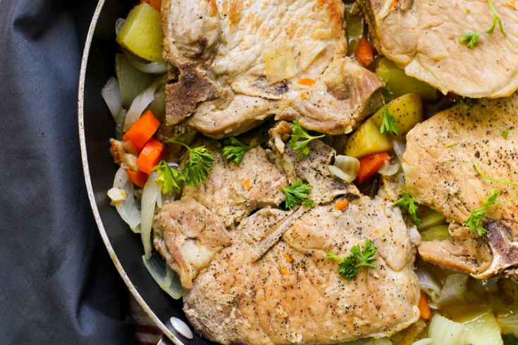 One Pot Pork Chops and Vegetables - finished pork chop dish in a pot jpg