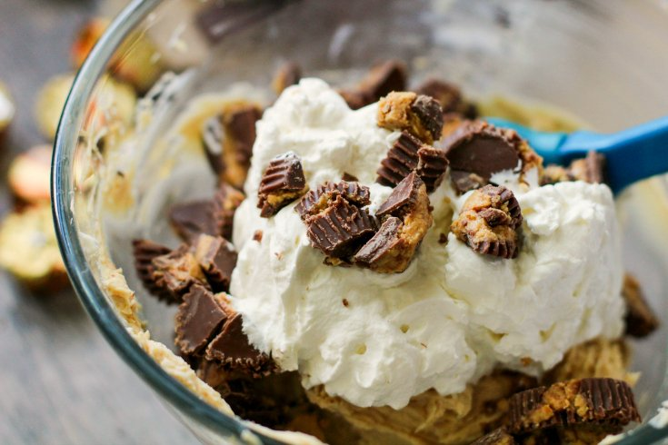 Peanut Butter Cup Cheesecake Dip - peanut butter cups mixed into dip mixture