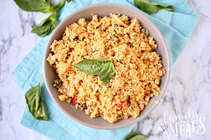 Thai Basil Cauliflower Rice - Served in a bowl