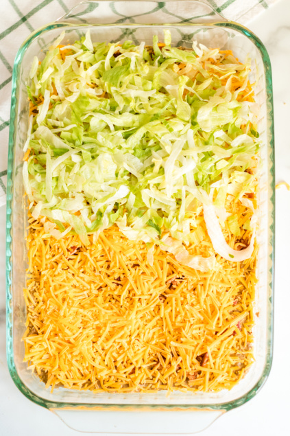 Bacon Cheeseburger Dip - Shredded cheese and shredded lettuce added to top of casserole