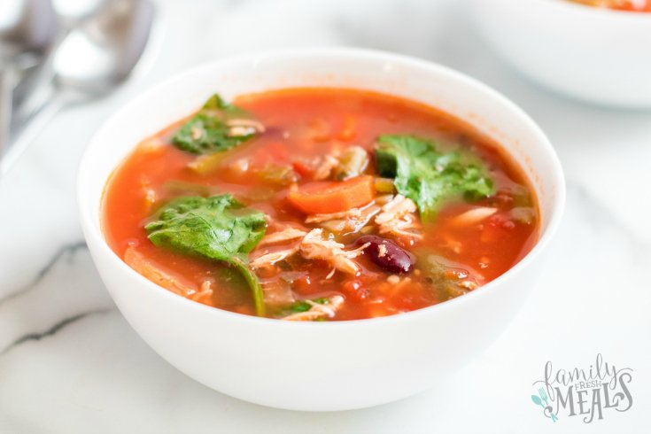 Crockpot Detox Soup Recipe - Healthy crockpot soup in small white bowl