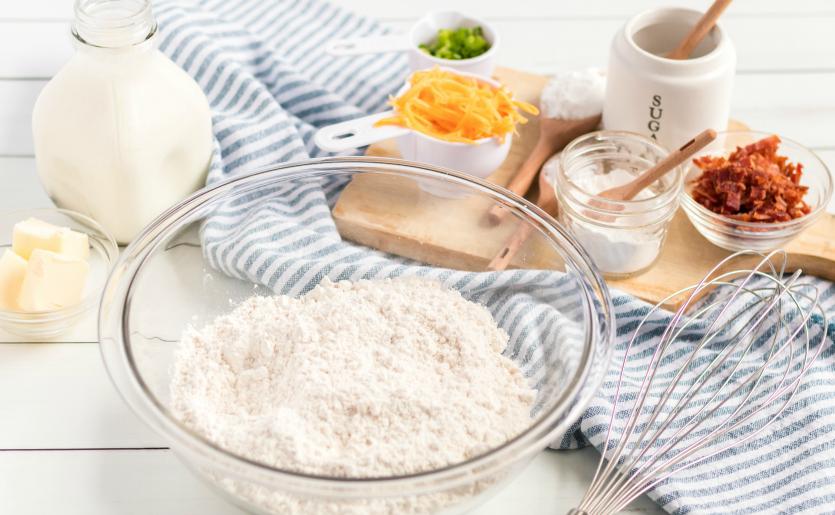 Bacon Cheddar Irish Soda Bread - bread ingredients flour, milk, butter, cheese, bacon, sugar, chives,