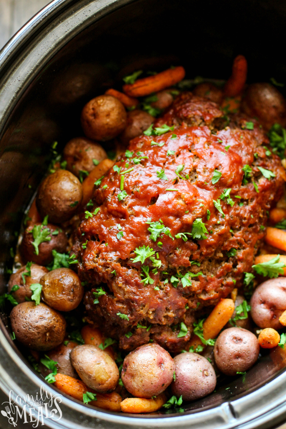 Easy Crockpot Meatloaf Dinner Recipe - Family Fresh Meals
